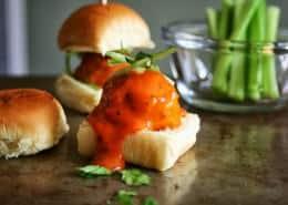 Buffalo Chicken Meatball Sliders