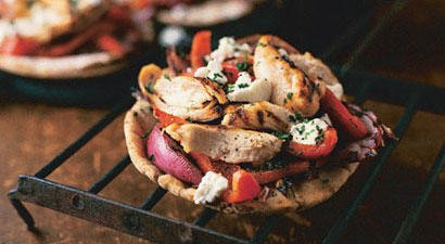 Grilled Chicken and Red Pepper Pizzas