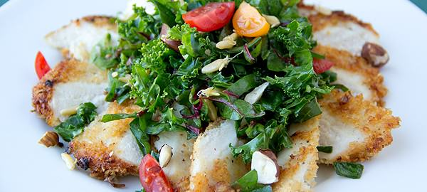 Parmesan-Crusted Chicken With Kale And Chard Greens, Clean And Green​​