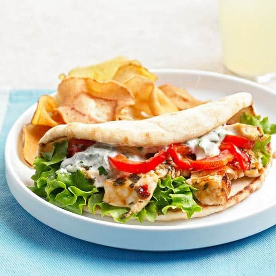 Skillet Chicken Salad Pitas
